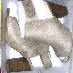 Beige open-toe & heel booties